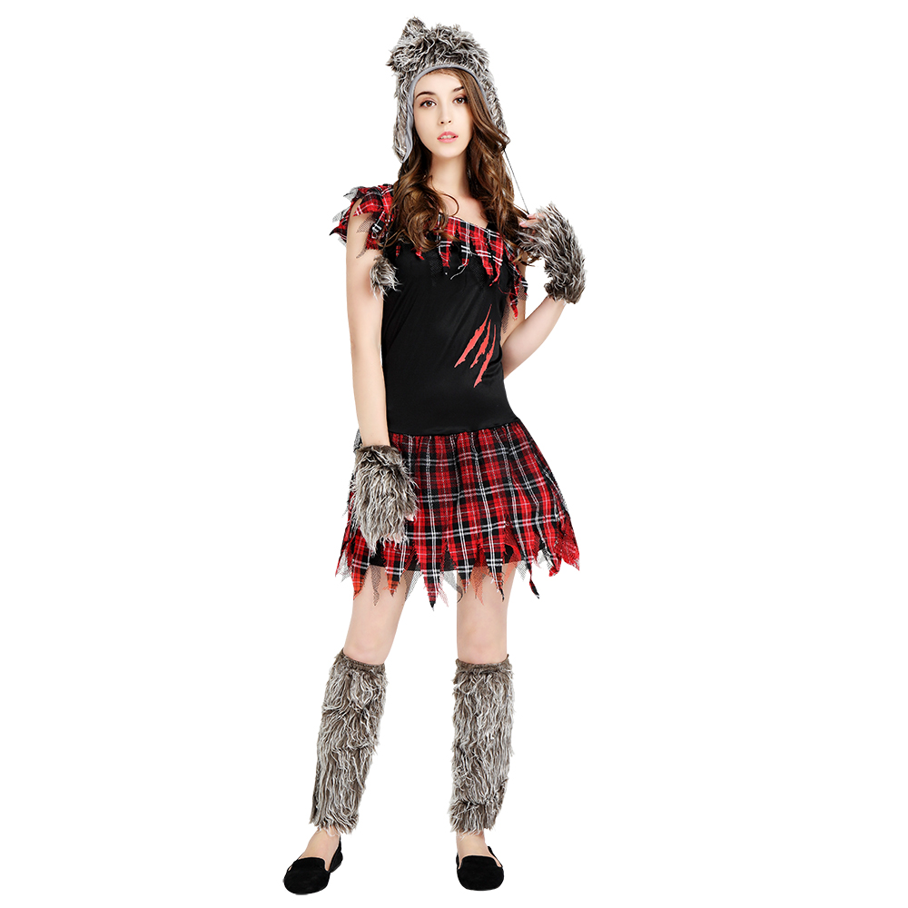 Halloween Adult Costumes Women Disguise Werewolf Gird Dress With Hat Gloves Woman Cosplay Costume Outfit
