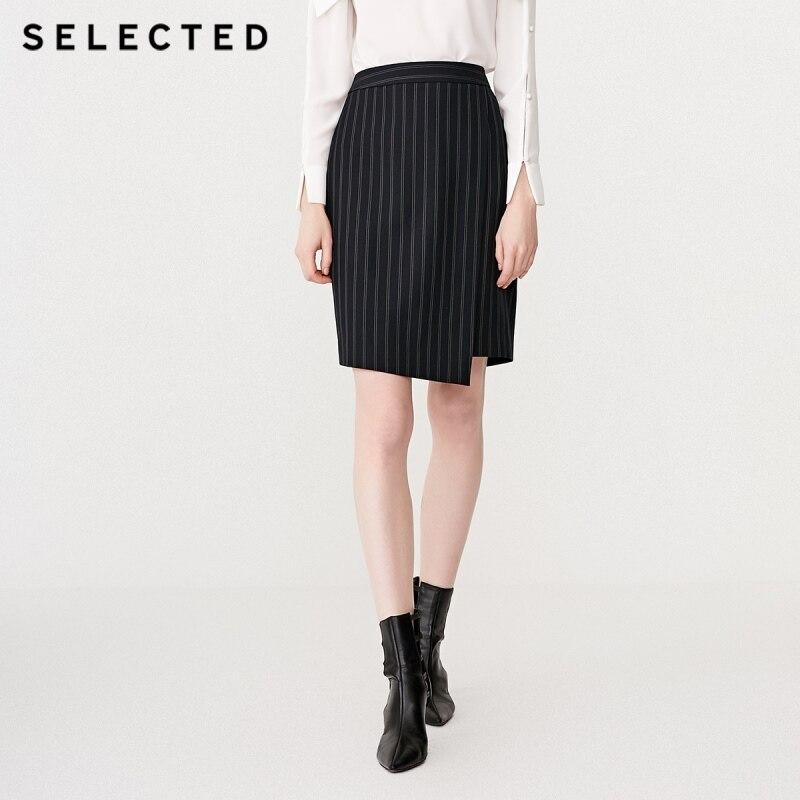 SELECTED Women's Slim Fit Striped Irregular Hip-wrap Skirt SIG|41914C509