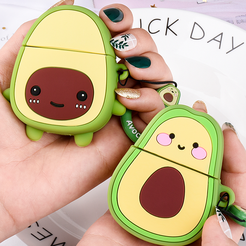 Cartoon Avocado Cases For Apple AirPods 2 Earphone Soft TPU Cute Avocado Pattern Case For Apple Air Pods 1 Cover Case With Hooks