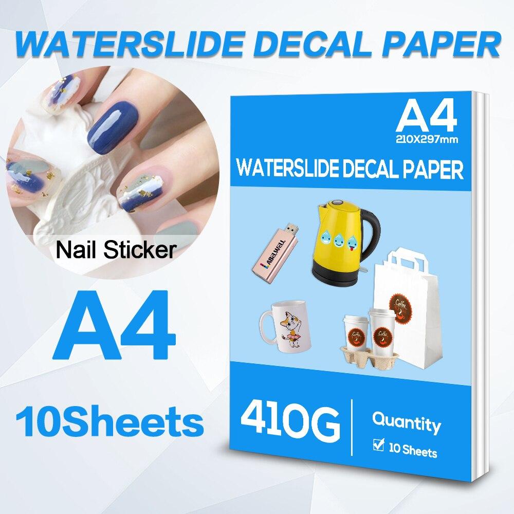 A4 10Sheets Inkjet Water Slide Decal Transfer Paper 210X297mm Transparent Printing Paper for Inkjet Printer DIY Cup mug Gifts