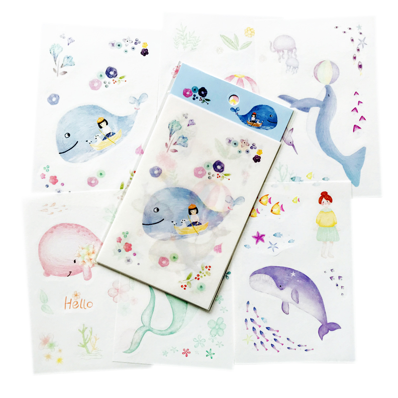 6 Sheets/Pack Cute Cartoon Blue Whale Stickers Hand Account Decor Decorative Album Diary Stick Label Kids Gift
