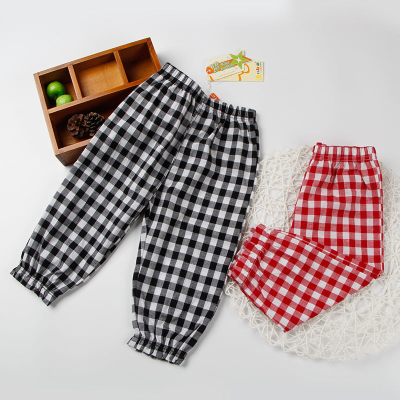 VIDMID Baby kids Boys girls cotton plaid pants trousers spring summer baby kids children casual fashion pants trousers P2082 2