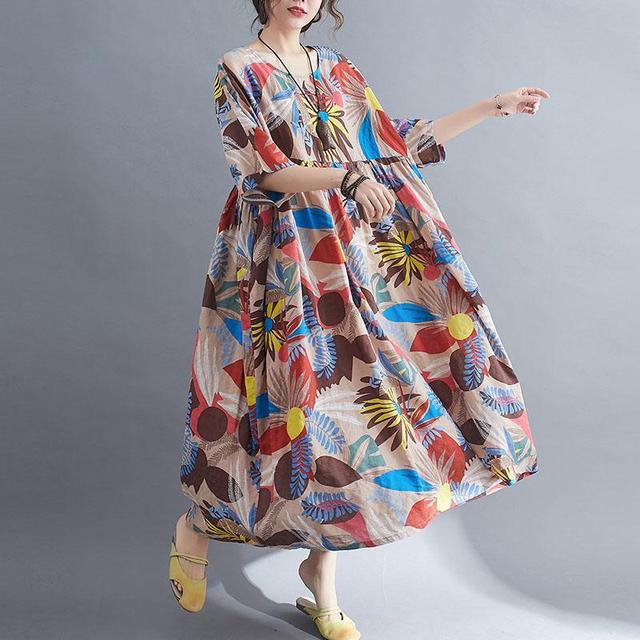 Plus Size Summer Beach Dress Women Floral Casual Oversized Ladies Dresses 4XL 5XL 6XL Vestidos Robe Femme Holiday Dress 2021 New 6