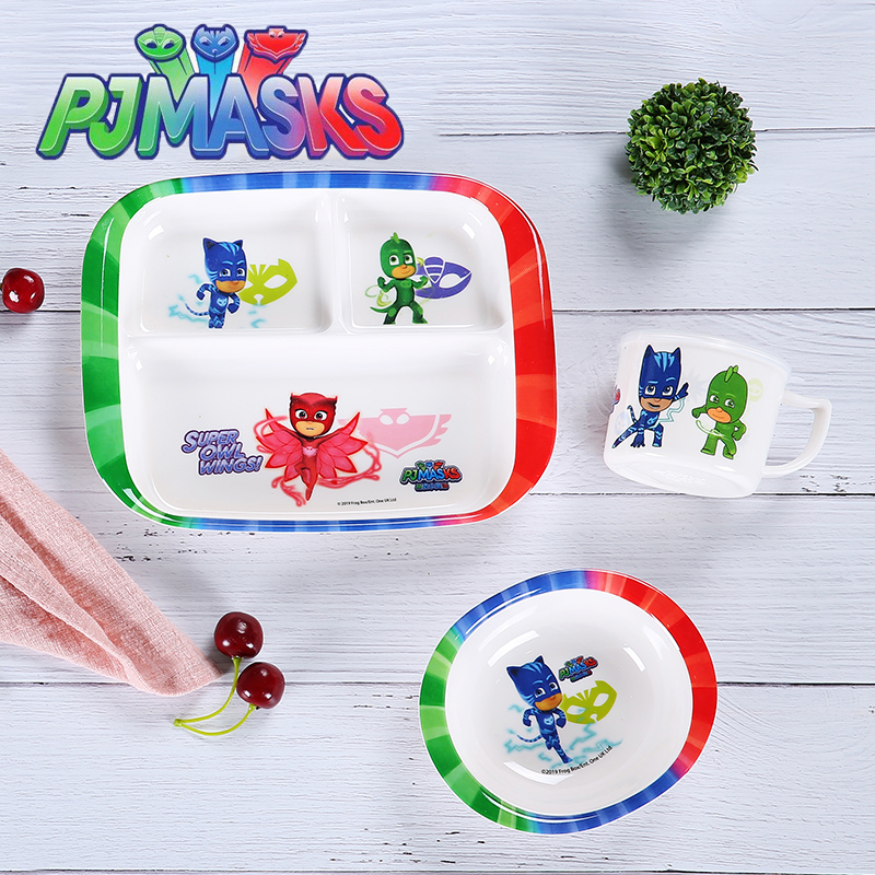 Genuine Pj Masks Original 320ML Cup Children Outdoor Tableware Anime Figure Catboy Gekko Owlette Printed Bowl Fork Spoon Set