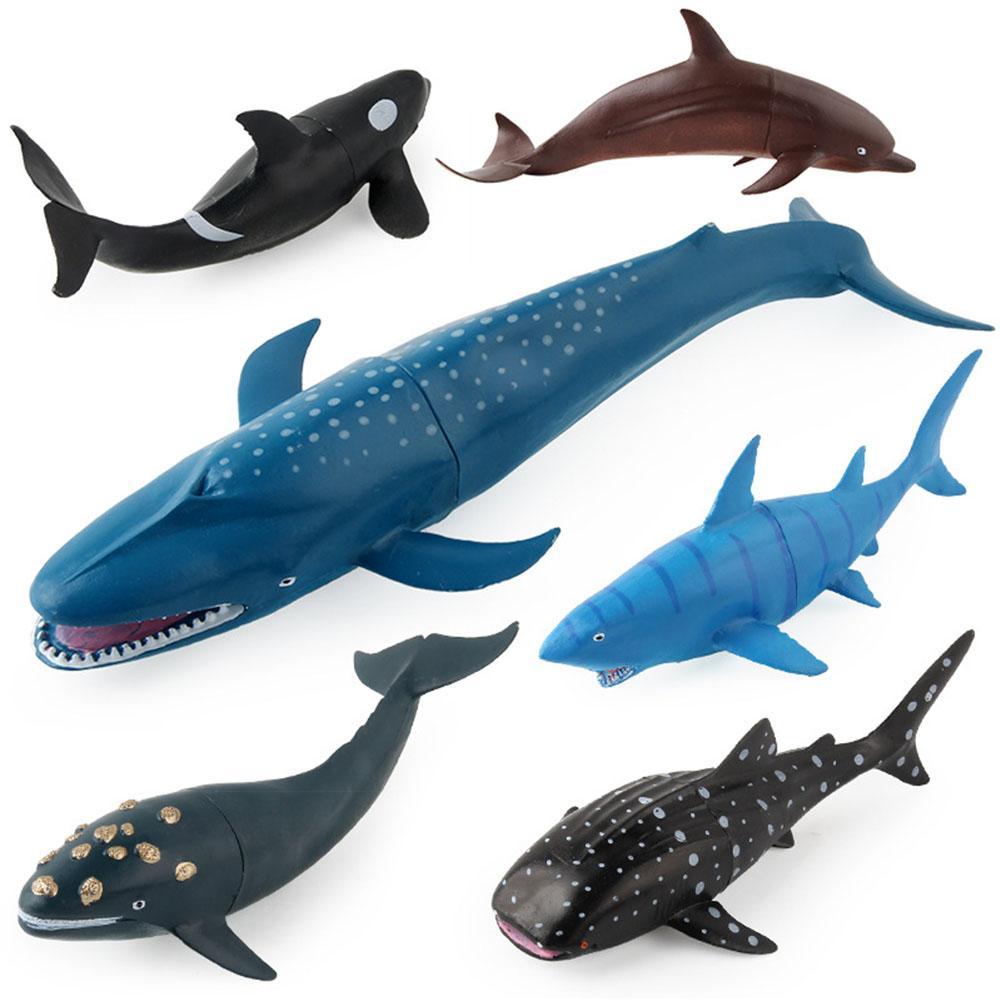 6 pcs simulacao baleia tubarao oceano animal pvc modelo estatueta criancas brinquedo mesa decoracao inteligencia desenvolver