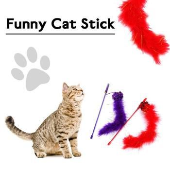 Creative Funny Kitten Cat Stick 30CM Long Self-hey Toy Paper Ball Feather Interactive Toy Rod Turkey Feathers Tease Cat Stick image