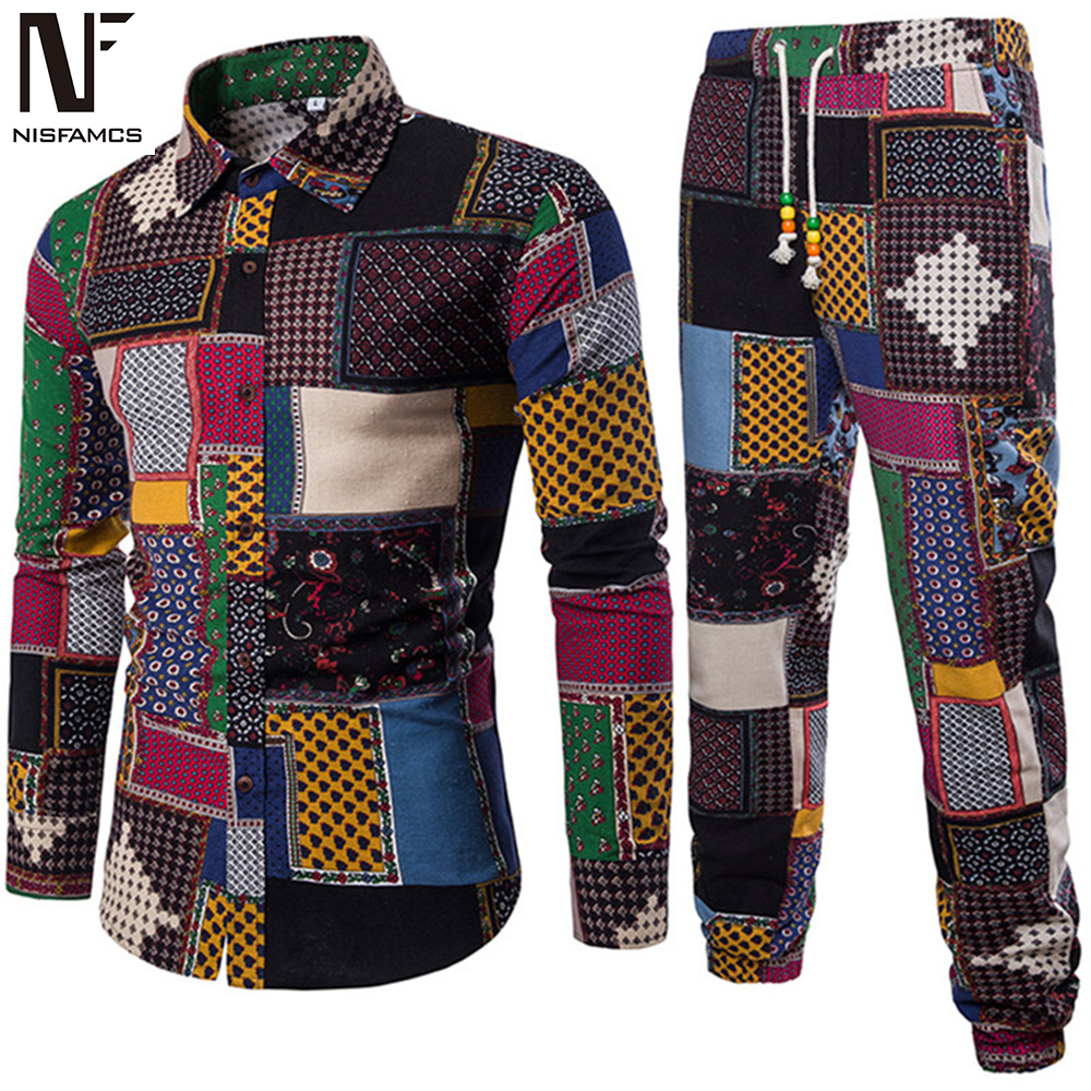 Mens Vacation Set Linen Long Pant Ethnic Style Patchwork Male Suit Festival Wear Plus Size 5XL Europe Slim Shirt 2020 Autumn New