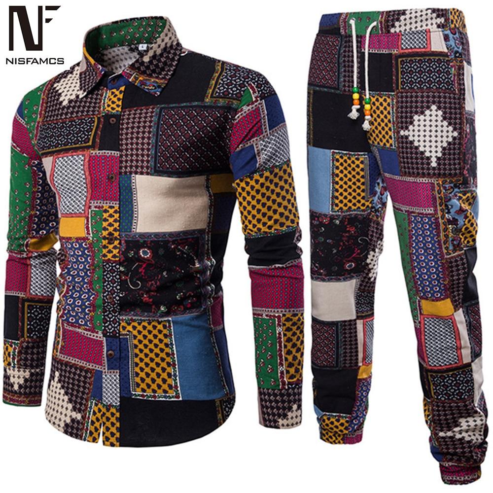 Mens Vacation Set Linen Long Pant Ethnic Style Patchwork Male Suit Festival Wear Plus Size 5XL Europe Slim Shirt 2019 Autumn New