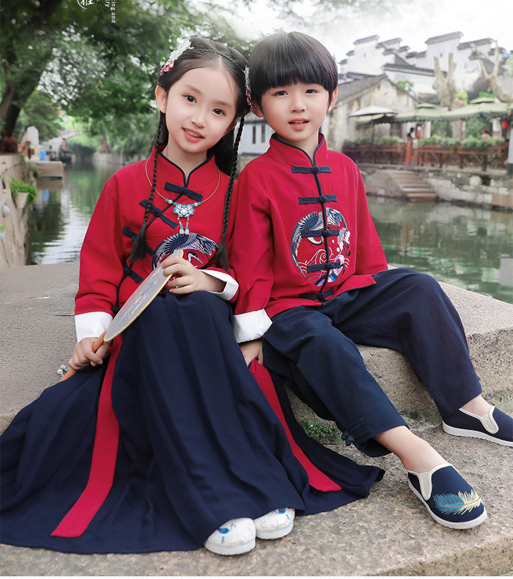 Chinese Hanfu Traditional Crane Embroider Kids Clothes Set Children Tang Suit Girls Party Dress Boys Kung Fu Tops Skirts Pants