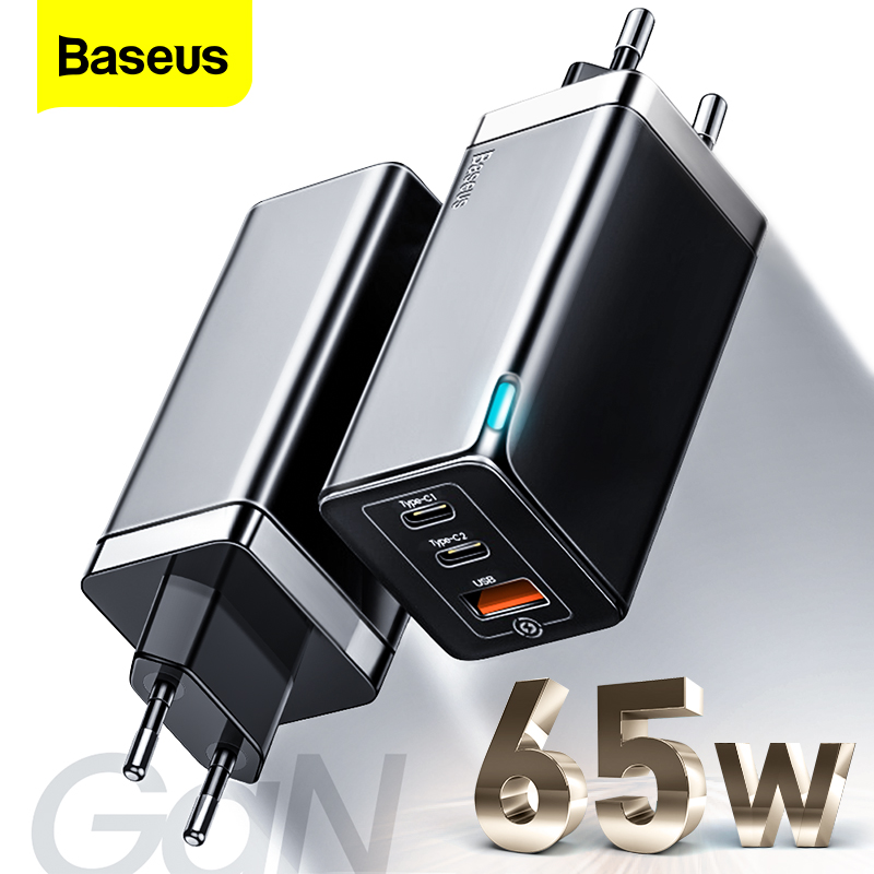 Baseus 65W GaN Fast Charger Type C PD Quick Charge 4.0 QC 3.0 EU US Plug 3 Ports USB Portable Charger For iPhone Huawei Xiaomi