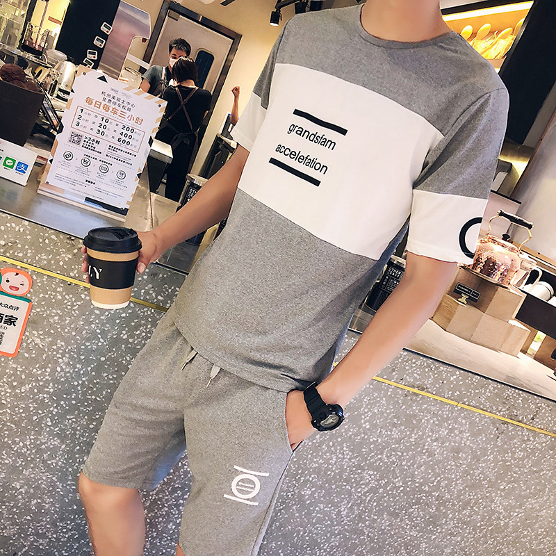 2018 MEN'S Short-sleeved T-shirt Sports Set Korean-style Trend Summer Clothes Half Sleeve Leisure Suit