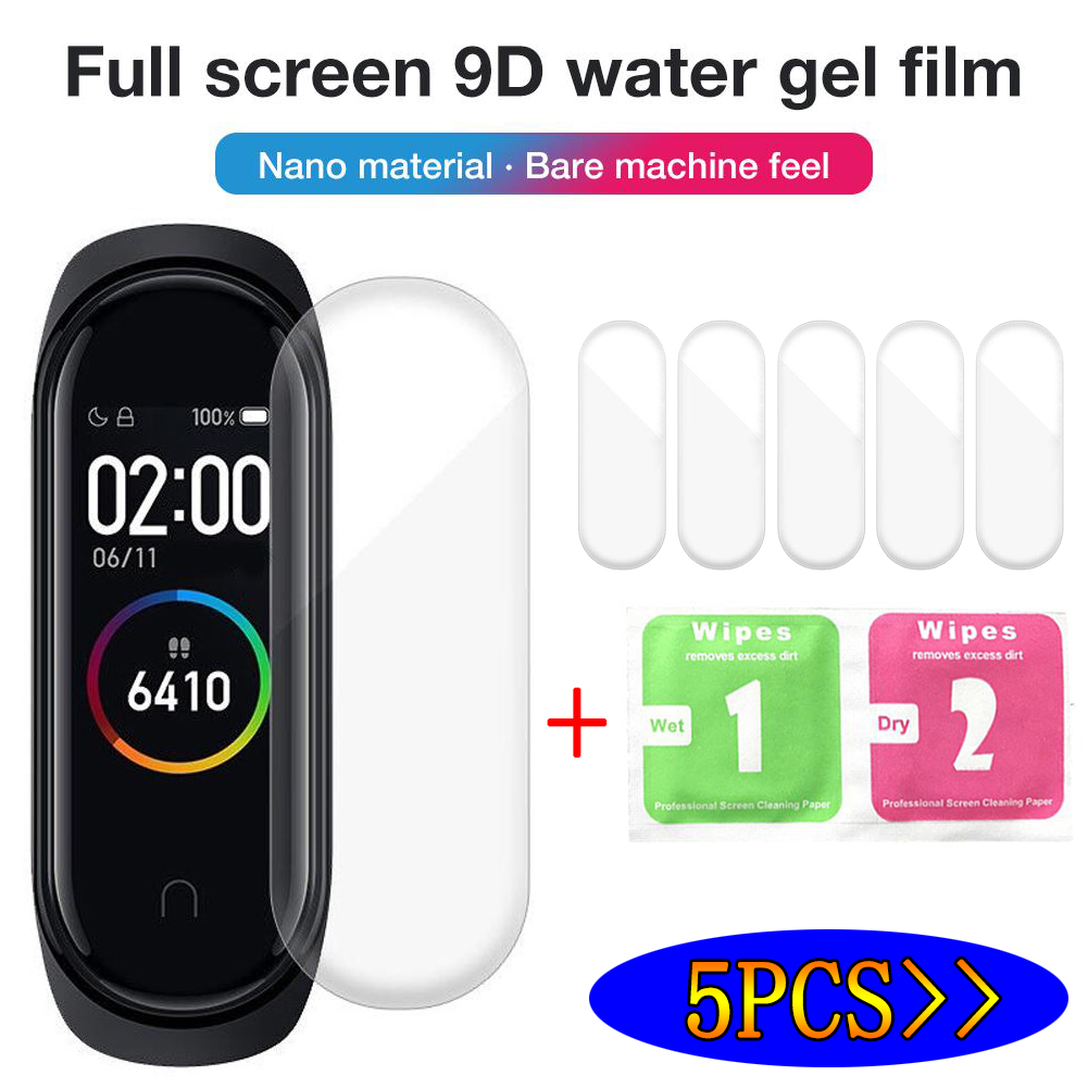 5pcs/lot Hydrogel Protective Tempered Film For Xiaomi Mi Band 4 Smart Wristband Bracelet Smart Wristband Bracelet Full Cover