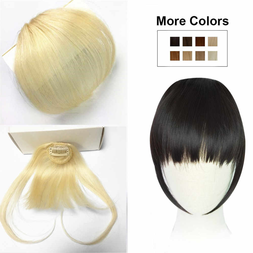 Halo Lady Dark Brawn Clip in Bangs Human Hair Flat Air Fringe Bangs Invisible Peruvian Hair Pieces Non-remy Replacement Hair Wig
