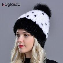 fur hat mink knitted Winter women girls natural fur warm hats fox fur pompom headgear stylish fashionable female kawaii fur cap