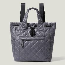 Down Cotton PU Drawstring Backpack Women's Wide Strap Handbags Lady Fashion Air Cushion Tote Bags Daily Top-Handle Bag 2021 New