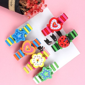 Image 4 - 3pcs/lot Wooden Wristwatches Nice Cartoon Crafts Bracelet Watches Handicrafts Toys for Kids Learning & Education Party Favors