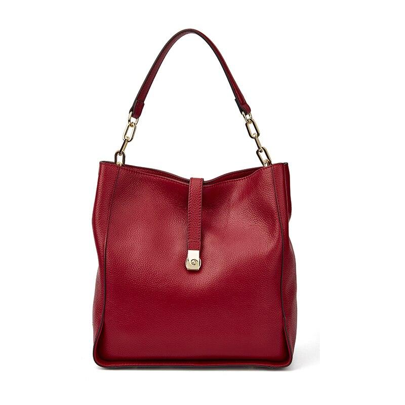 Bagaj ve Çantalar'ten Omuz Çantaları'de Qiwang Marka Hakiki Deri Kadın Siyah hobo çanta Kadın Tasarımcı Deri Çanta Gerçek Deri Kova Çanta Zincir Çanta Amazon Satış'da  Grup 1