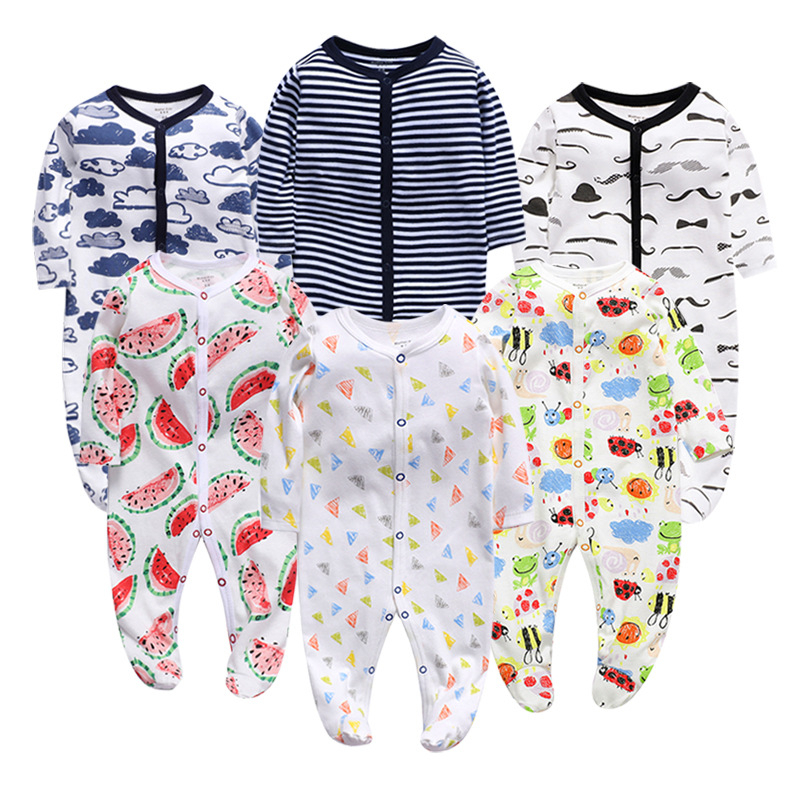 New Born Baby Clothes Girls Rompers Infant Baby Cartoon Climbing Jumpsuit Cotton Soft Clothing Autumn Boys Pajamas Sleepwear
