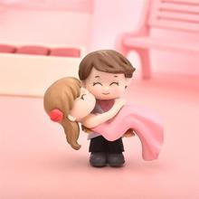 Милая пара миниатюр принцесса Холдинг Любовник украшения для свадебного торта Сказочный Садовый Гном микро пейзаж Декор Террариум фигурки