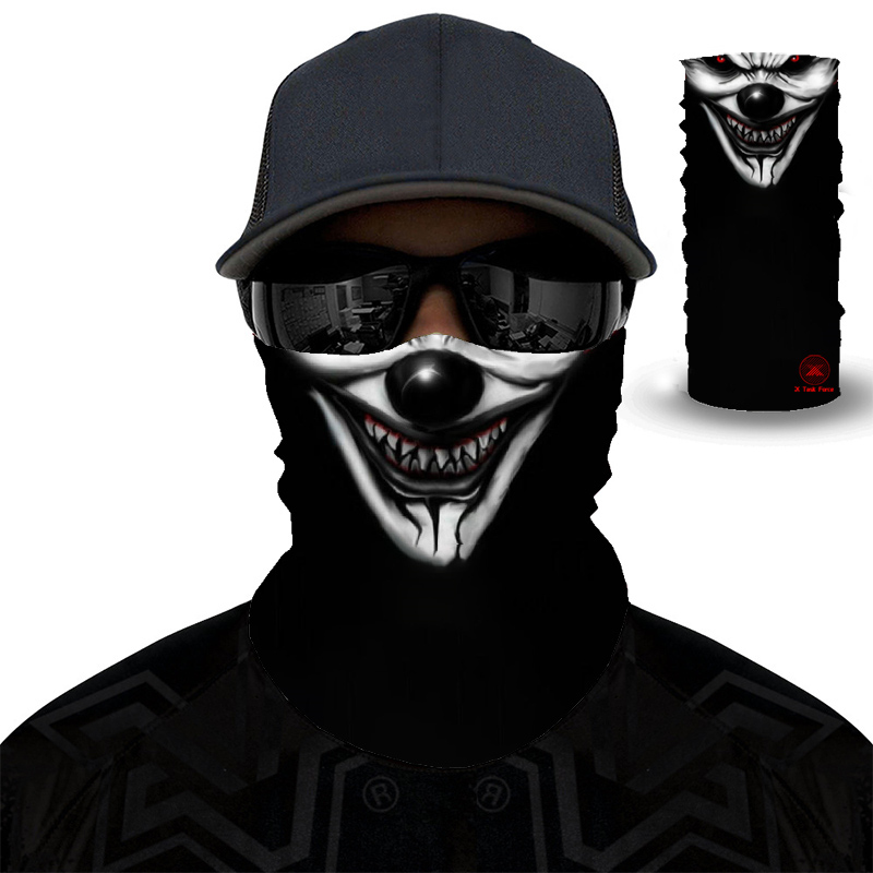 Movie Clown Anime Skull 3D Seamless Balaclava Magic Scarf Outdoor Sports Bandanas Ski Fishing Cycling Hiking Mask Neck Gaite
