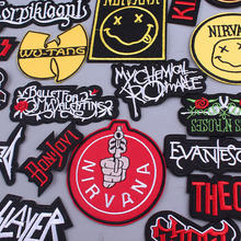 Diy hippie patches iron on patches 금속 밴드 의류 용 패치 WU-TANG 의류 용 수 놓은 패치 nirvana letter parches(China)