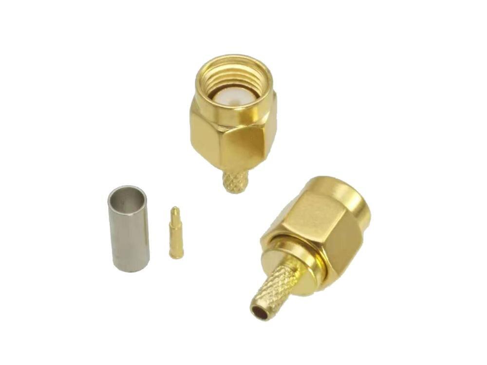 SMA Male Plug Crimp RG174 RG316 LMR100 Cable RF Coaxial Connector