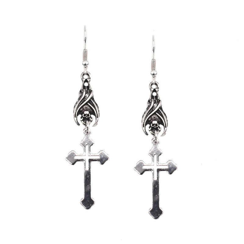 ROCK Gothic BAT Handstand CROSS Drop ต่างหูสัตว์ Dangle ต่างหูสำหรับผู้ชายและผู้หญิงเครื่องประดับฮาโลวีน PARTY ของขวัญ Brincos