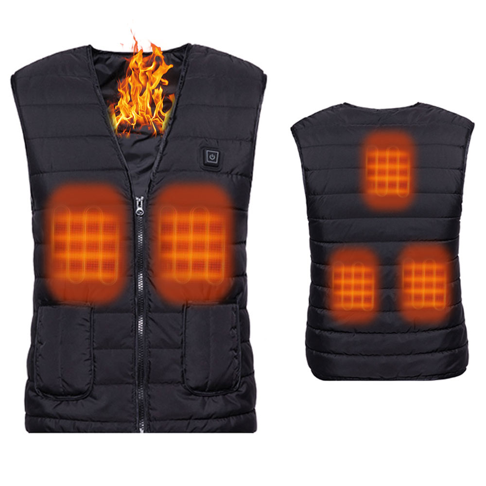 XXXL USB Charging Intelligent Far Infrared Warming Waistcoat Outdoor Heating Winter Vest for Fishing Hiking Camping Walking Unisex Electric Heated Vest