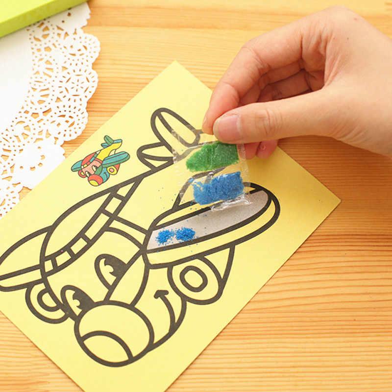 Diy pintura de areia papel dos desenhos animados crianças cor arte desenho criativo montessori brinquedos artesanato educação para crianças presentes 12x16 cm