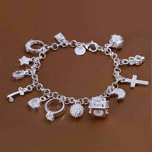 H144 Hot Sale Fine Silver Plated Jewelry,Wholesale Factory Price 925 Charms Free Shipping Fashion 13 Pendants Bracelet /afqaiwx