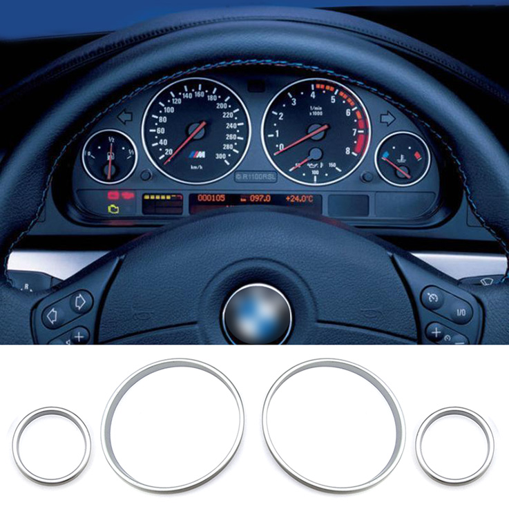 4pcs Interior Car Front Dashboard Meter Dial Gauge Rings Accessories for BMW E46