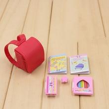 Рюкзак и книги для кукол 6 шт. оригинальные аксессуары для кукол licca Blythe Dollhouse школьные принадлежности лучший подарок игрушка для девочки