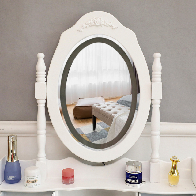 Vanity 4 Drawer Dresser White w/ Mirror 2