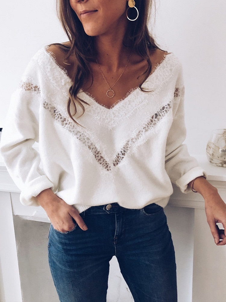 Hollow Sweater Pullovers Spring Jumper Fashion Long-Sleeve Lace Elasticity Autumn Femme
