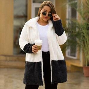 Image 4 - NUR PLUS Winter Samt Mantel Lange Warme weiß Mäntel Strickjacke Casual Frauen Woolen Mantel Blends Vollständige Mantel Plus Größe Weibliche