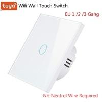 EU 1/2/3 Gang Tuya Wifi Smart switch Einzelnen Feuer Draht Keine Neutralen Draht Schalter Wifi Wand Licht Schalter Touch Panel RF 433MHz Fernbedienung