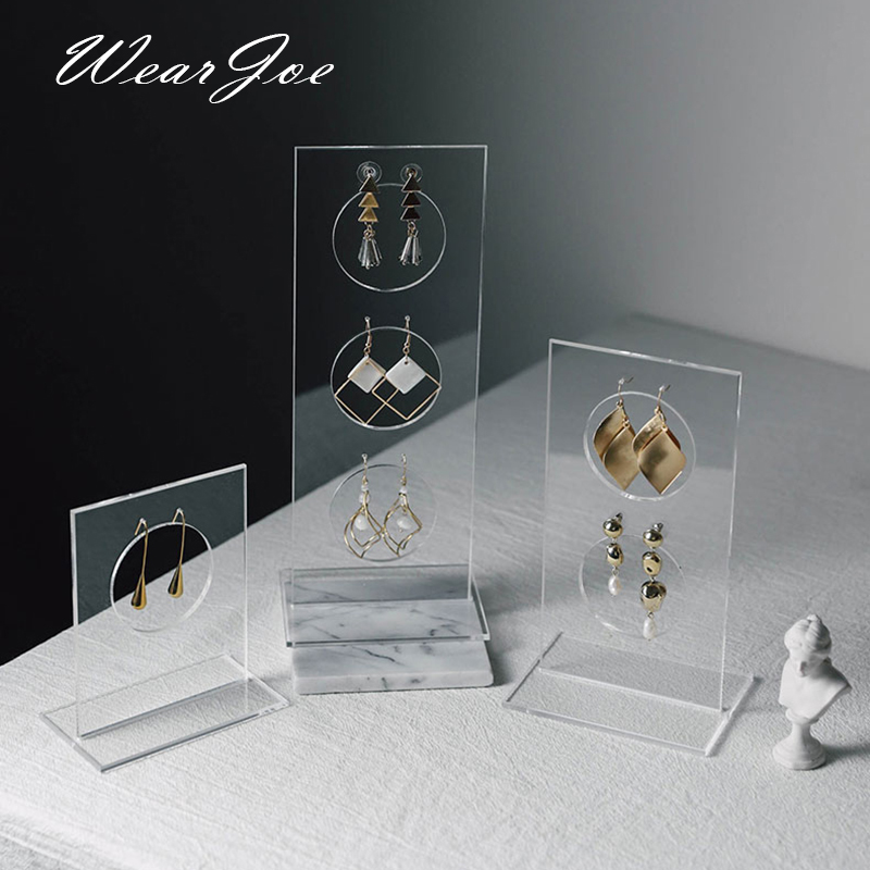 Simple Clear Acrylic Jewelry Display Drop Earrings Stand Vertical Holder Ear Studs Piercings Stoarge Show Rack Photography Props