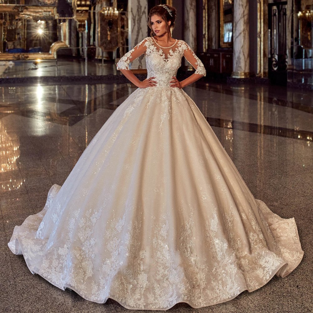 Muslim Wedding Dresses Ball Gown Half Sleeves Appliques Lace ...