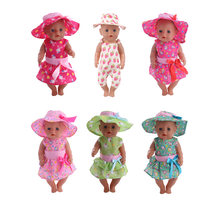 Doll Clothes Dress Suit = Dress + Hat For 18 Inch American&43Cm Baby New Born Doll Generation , Gift(China)