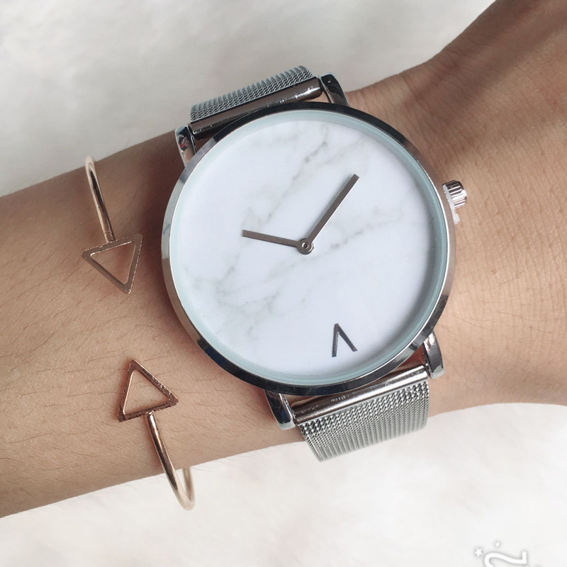 Роскошные женские часы с сетчатым ремешком с мраморным циферблатом кварцевые наручные часы женские повседневные часы из нержавеющей стали...