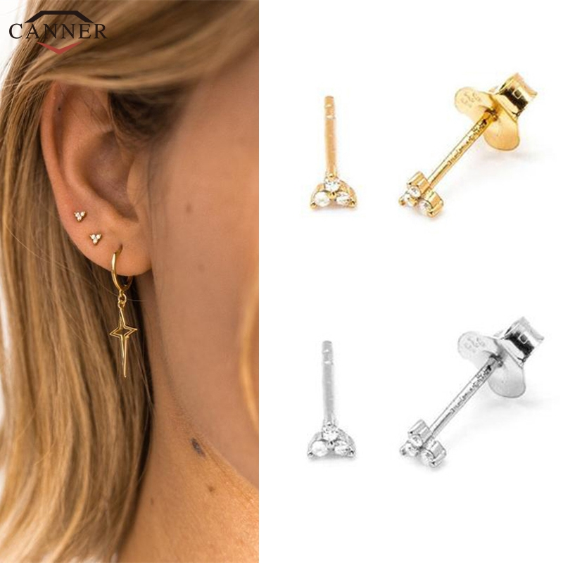 Gold Color Zircon Stud Earrings for Women Girls 925 Sterling Silver Mini CZ Crystal Stud Earrings 2019 Cute Tiny Earings Gift H4