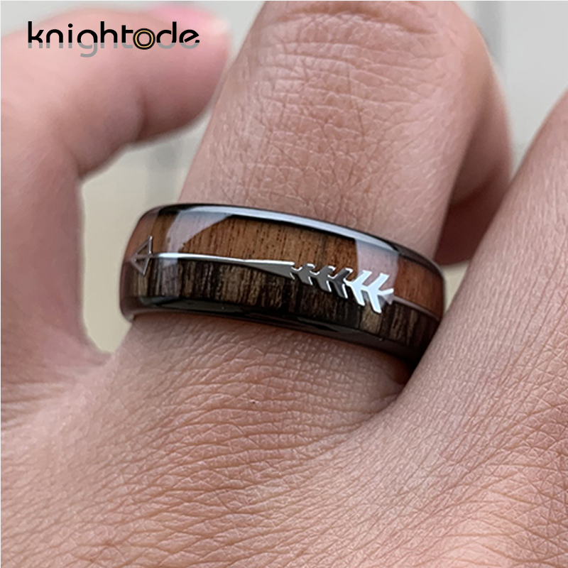 Image 4 - 8/6mm Fashion Rose Gold Tungsten Carbide Wood Rings Women Men Classic Silver Engagement Band And Steel Arrow Inlay Black Style-in Wedding Bands from Jewelry & Accessories