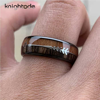 8/6mm Fashion Tungsten Carbide Wood Rings Steel Arrow Inlay For Men Women Classic Engagement Ring Dome Band Polished Comfort