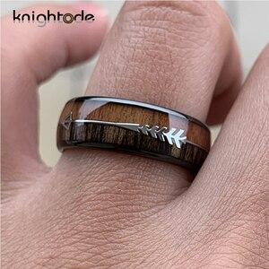 Image 4 - 8/6mm modny wolframowy drewno karbidowe pierścienie stalowa strzałka wkładka dla mężczyzn kobiety klasyczny pierścionek zaręczynowy kopuła zespół polerowany komfort