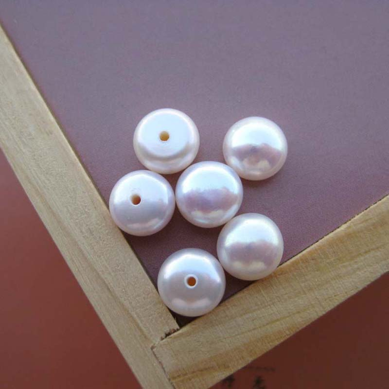 Wholesale High Quality Half Drilled Cultured Freshwater Pearl Beads New Jewelry Button Natural Half drilled Sold By Bag 3 Colors in Beads from Jewelry Accessories