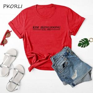 Корейская Мода kpop Ateez bias KIM HONGJOONG футболка с принтом для женщин yong girl футболка для фанатов Подарочная одежда S-3XL