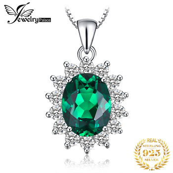 Jpalace Simulated Nano Emerald Pendant Necklace 925 Sterling Silver Gemstones Choker Statement Necklace Women No Chain natural amethyst pendant necklace 925 sterling silver gemstone choker statement necklace women silver 925 jewelry no chain