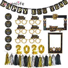 2020 Happy New Year Decoration Photo Booth Frame Props Balloons Gold Black Banner Garland Navidad Eve Party Supplies