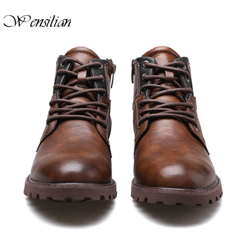 Vintage Ankle Boots Men Casual Shoes Leather Winter Shoes Lace Up Footwear Fashion Snow Boots  Round Toe Men's Boot Botas Hombre