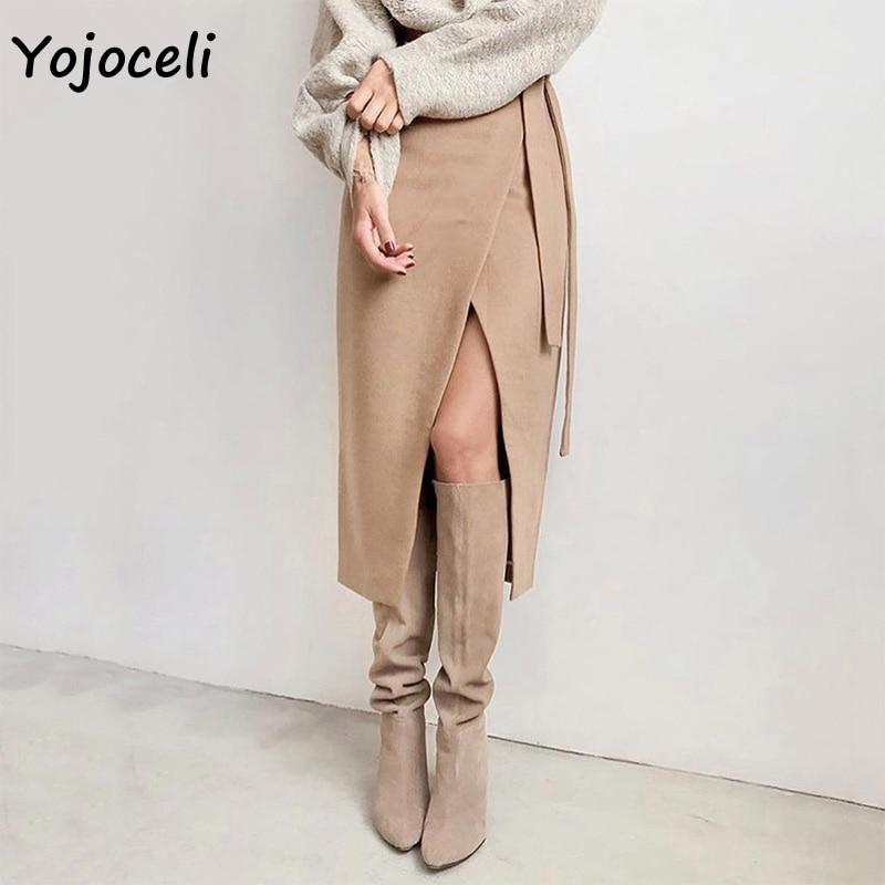 Yojoceli Women Autumn Winter Suede Skirt Wrap Style Midi Skirt Bow Skirt Bottom Female